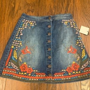 NWT button-down jean skirt + embroidery